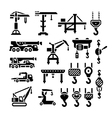Set icons of crane lifts winches and hooks vector image vector image