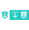 set of turquoise badge with anchor of ship vector image