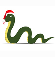 snake in sants claus cap vector image