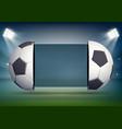 soccer scoreboard with balls on stadium field vector image vector image