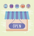store facade with set icons vector image vector image