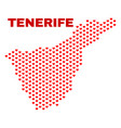 tenerife map - mosaic of valentine hearts vector image vector image