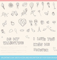 valentines day sketch icon and inscription set vector image