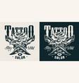 vintage tattoo studio monochrome print vector image vector image