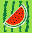watermelon slice sticker icon dash line cut half vector image vector image