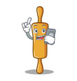 with phone rolling pin character cartoon vector image vector image