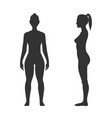 woman black silhouette front and side view vector image vector image