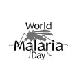world malaria day mosquito silhouette for banner vector image vector image