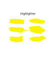 yellow watercolor hand drawn highlight set vector image