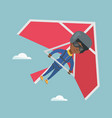 young african-american woman flying on hang-glider vector image vector image