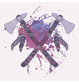 grunge of native American indian tomahawks w vector image