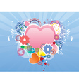 Valentines day card with heart and flourish vector image
