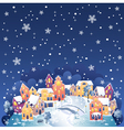 Winter night town vector image