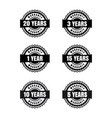 black and white warranty labels set vector image