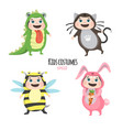 set of cute kids wearing animal costumes isolated vector image