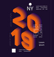 2019 colored banner with 2019 numbers vector image vector image