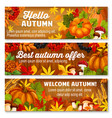 autumn leaf on wooden background banner set vector image vector image