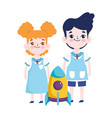 back to school student boy and girl rocket vector image vector image
