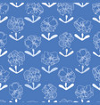 blue repeat pattern with white flowers vector image