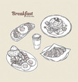 breakfast collection hand draw sketch vector image vector image