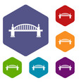 bridge icons set hexagon vector image vector image