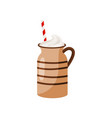 brown ceramic mug of hot chocolate with drinking vector image vector image