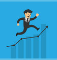 businessman running up profit graph vector image