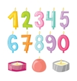 candle numbers with fire vector image vector image