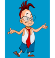 cartoon boy with glasses spread his arms vector image vector image
