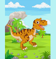 cartoon tyrannosaurus in jungle vector image vector image