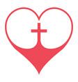 christian cross in heart symbol faith vector image vector image