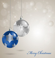 Christmas card with colored balls on a snow vector image vector image