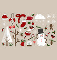 christmas icons for decorations vector image vector image
