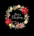 christmas wreath with slogan golden elements vector image vector image