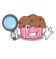 detective cartoon chocolate muffins ready to eat vector image