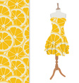 Dress with orange pattern vector image