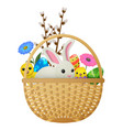 easter animals flowers and eggs vector image vector image