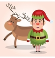 elf reindeer christmas card design isolated vector image vector image