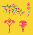 embroidery blossoms branch of cherry sakura tree vector image vector image