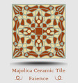 faience ceramic tile in beige olive green and red vector image vector image