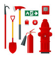 fire safety and protection flat icons vector image