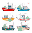 fishing boats set vector image vector image