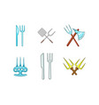 fork icon set cartoon style vector image