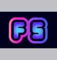 fs f s pink blue gradient alphabet letter logo vector image vector image