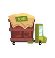 green cartoon truck with olives car for the vector image