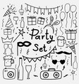 hand drawn doodle party set vector image