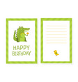 happy birthday card template with cute crocodile vector image vector image