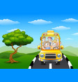 happy children riding on school bus vector image