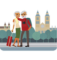 Happy senior couple travelling vector image vector image