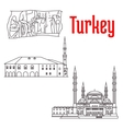 Historic architecture and sightseeings of Turkey vector image vector image